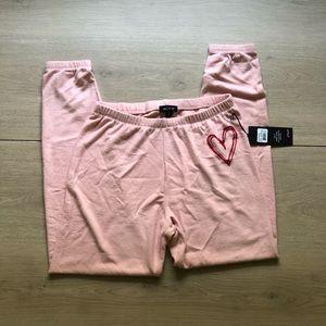 Wildfox | Pink Knox Sketchy Heart Fleece Sweatpant